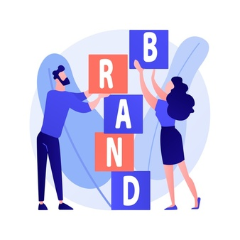 product brand building corporate identity design studio designers flat characters teamwork cooperation collaboration company name concept illustration 335657 1722