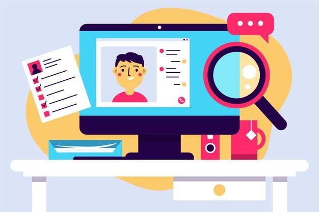 online job interview illustration 23 2148621791